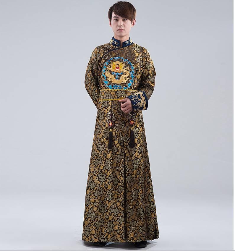 中国清朝服 満州王子服 古装武侠衣装 長袍(チャンパオ) サテン地 経典花色