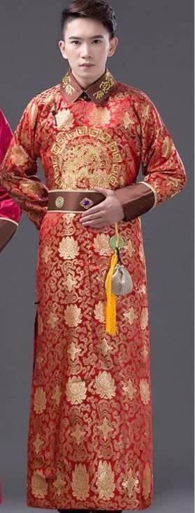 中国清朝服 満州王子服 古装武侠衣装 長袍(チャンパオ) サテン地2 赤色