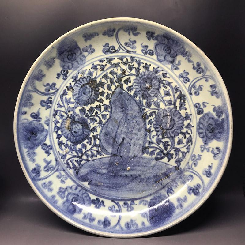 明代正徳年間空白期青花花卉紋皿 ko200329a01