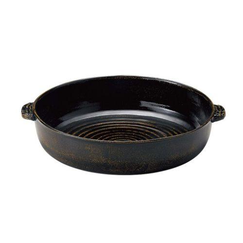 アルミ 電磁用 手付深型ドラ鉢(黒アメ釉)尺2 幅380×奥行430×高さ95(mm)/業務用/新品/小物送料対象商品