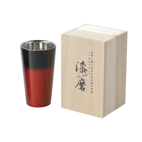漆磨 2重構造ストレートカップ 270ml 赤彩 SCW-L602 高さ125(mm)/業務用/新品 /テンポス
