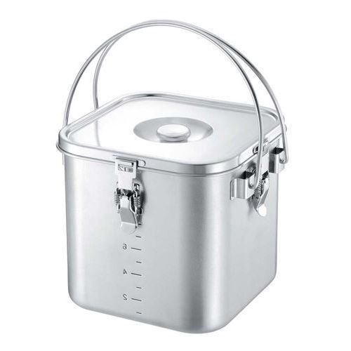 給食缶 角 IH対応 19-0 角型給食缶(目盛付)22cm 深さ:215/業務用/新品 /テンポス
