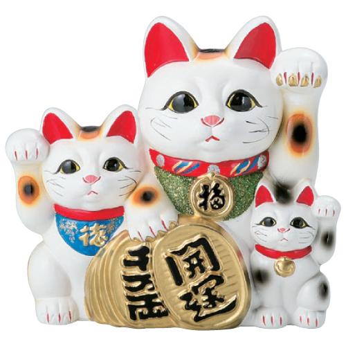 置物 【白三匹猫 (常滑焼)10号】 高さ330mm【業務用】【小物送料対象商品】【プロ用】