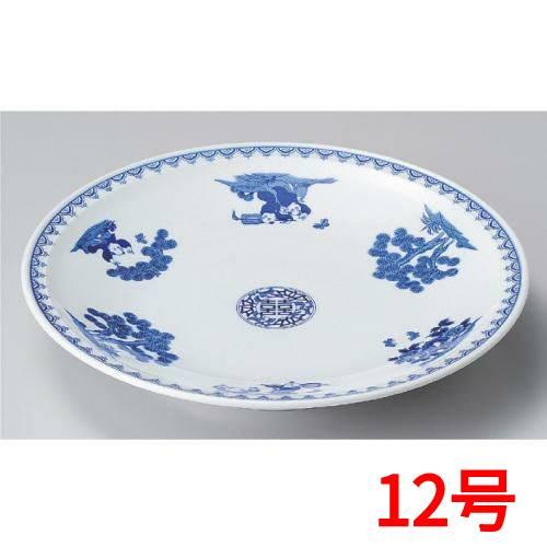 丸皿 染付唐子12.0皿 高さ52mm×口径:375/業務用/新品 /テンポス