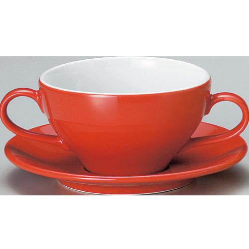 【ユーラシア ブイヨン碗皿 赤】【カップ&ソーサー】【Eurasia】 【10個入】【業務用】【プロ用】 /テンポス