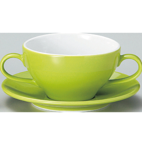 【ユーラシア ブイヨン碗皿 緑】【カップ&ソーサー】【Eurasia】 【10個入】【業務用】【プロ用】 /テンポス