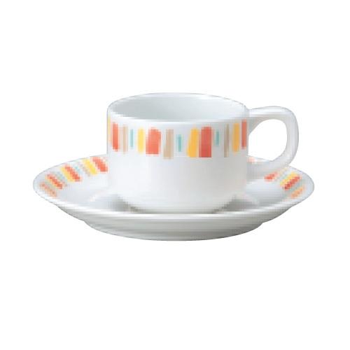 【ダイヤセラム(強化)】【オレンジ十草 スタック エスプレッソ碗皿】【カップ&ソーサー】【Dia Ceram】 【10個入】