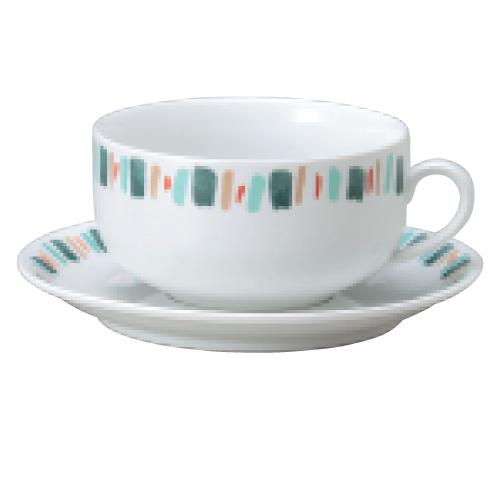 【ダイヤセラム(強化)】【グリーン十草 スープ碗皿】【カップ&ソーサー】【Dia Ceram】 【10個入】【業務用】【グループB】【プロ用】