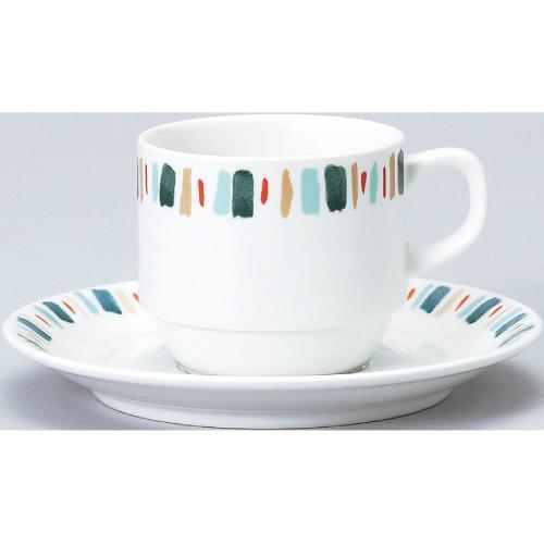 【ダイヤセラム(強化)】【グリーン十草 スタック コーヒー碗皿】【カップ&ソーサー】【Dia Ceram】 【10個入】