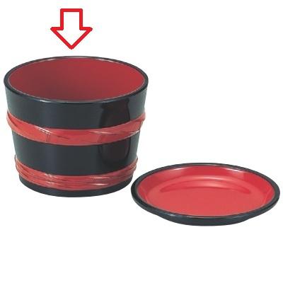 つゆ入 2.8寸桶型つゆ入黒朱ひも 高さ62 直径:84/業務用/新品/小物送料対象商品