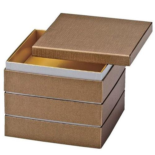 【お正月商品・お重箱】6.5寸 和紙重 金パール(内金紙)3段/業務用/新品