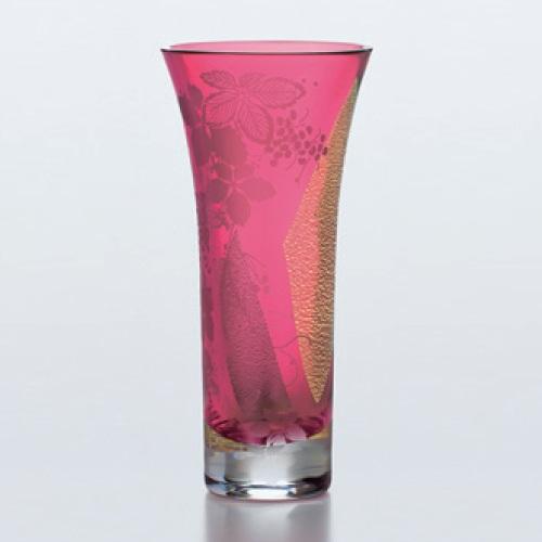 江戸硝子 紅玻璃 べにはり 花器 評価 ギフト 高さ205 新品 テンポス 業務用 mm 期間限定特価品