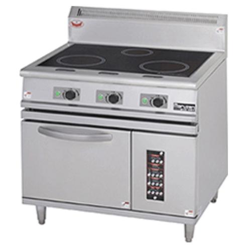 【業務用/新品】【マルゼン】 IHレンジ 自然対流式オーブン搭載 MIR-097B 幅900×奥行750×高さ850mm /テンポス 【送料無料】