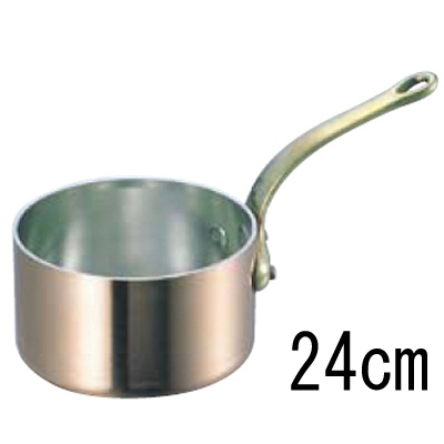 SW 銅 極厚 深型 片手鍋 蓋無 (真鍮柄) 24cm 【業務用】【送料無料】【プロ用】