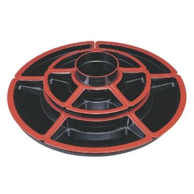 ビュッフェプレート ニュー2尺2寸回転オードブル 仕切黒天朱付 高さ210 直径:660/業務用/新品 /テンポス