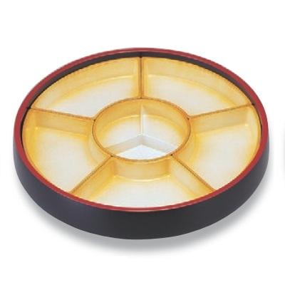 ビュッフェプレート 尺5寸回転盛桶 黒刷毛目 仕切オレンジ吹付 高さ127 直径:465/業務用/新品 /テンポス