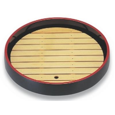 ビュッフェプレート 尺7寸回転盛桶 黒刷毛目 木製目皿付 高さ130 直径:525/業務用/新品 /テンポス