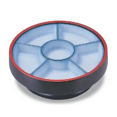 ビュッフェプレート 尺3寸回転盛桶 黒刷毛目 仕切青磁吹付 高さ120 直径:400 /業務用/新品 /テンポス