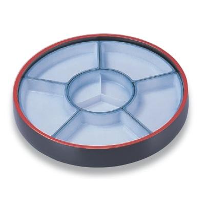ビュッフェプレート 尺4寸回転盛桶 黒刷毛目 仕切青磁吹付 高さ123 直径:435 /業務用/新品 /テンポス