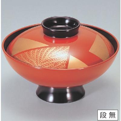 小吸椀 4.5寸小槌吸椀古代朱塗色紙シダ 漆器 高さ62 直径:130/業務用/新品/小物送料対象商品