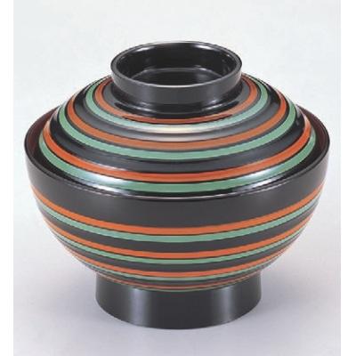 小吸椀 4.2寸平筋椀二色ライン内朱 漆器 高さ70 直径:127/業務用/新品/小物送料対象商品