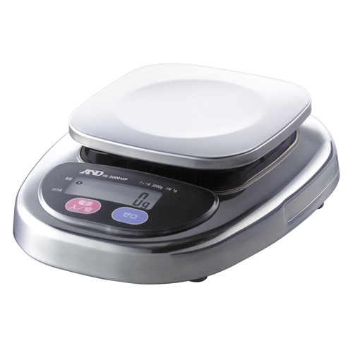A&D 防塵・防水デジタルはかり A&D HL-3000WP コンパクトスケール 幅170mm×奥行220mm×高さ63mm ひょう量:3000g/業務用/新品