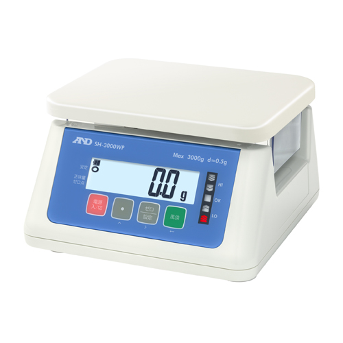 A&D 防塵・防水デジタルはかり A&D SH-3000WP コンパクトスケール 幅265mm×奥行250mm×高さ145mm ひょう量:3000g/業務用/新品
