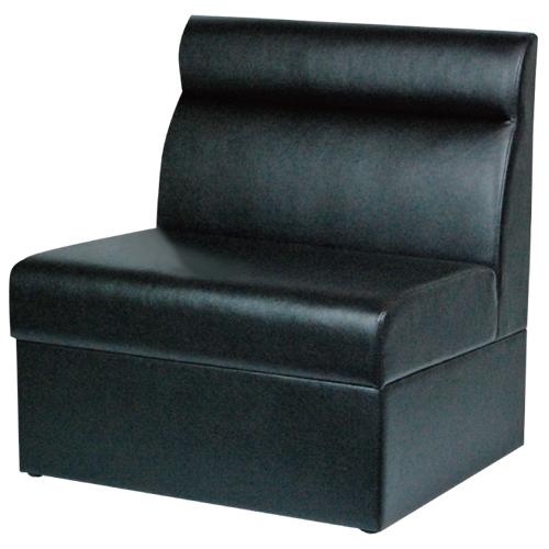 ボックスソファ W600 ブラックレザー 幅600×奥行600×高さ750(mm) 座面高さ:380(mm)【業務用】【送料無料】【プロ用】 /テンポス