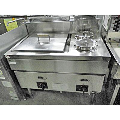 【中古】ゆがき槽付ガスウォーマーテーブル マルゼン MGS-096CX 幅900×奥行600×高さ800 都市ガス 【送料無料】【業務用】
