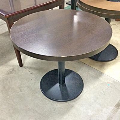 【中古】丸テーブル 天板焦げ茶 幅直径800×高さ700 【送料無料】【業務用】