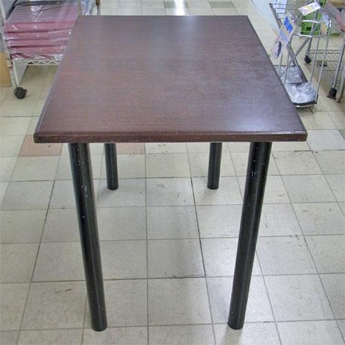 【中古】洋風テーブル こげ茶 4本足 幅600×奥行850×高さ725 【送料無料】【業務用】