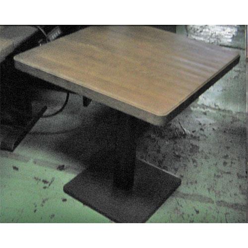 【中古】テーブル 天板茶木目 黒 1本脚 幅700×奥行700×高さ730 【送料別途見積】【業務用】