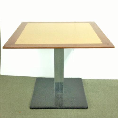 【中古】角脚スチール こげ茶天板テーブル 幅850×奥行850×高さ700 【送料無料】【業務用】