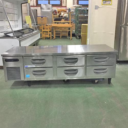 【中古】冷蔵低ドロワーコールドテーブル 福島工業(フクシマ) TBC-550RM 幅1630×奥行600×高さ560 【送料無料】【業務用】【厨房機器】