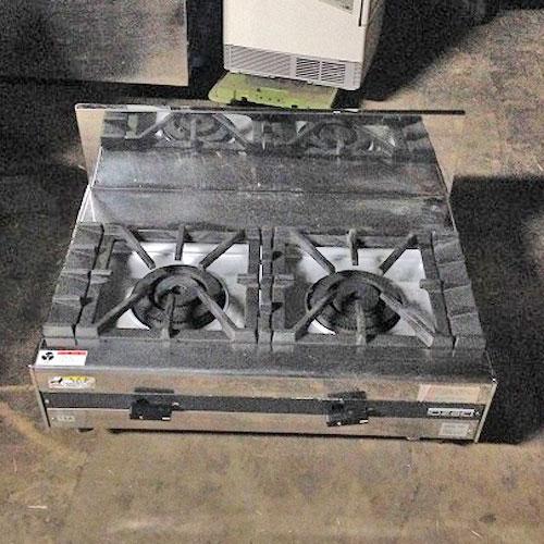 【中古】ガスコンロ (2口) オザキ OZ80-55K 幅800×奥行550×高さ270 都市ガス 【送料別途見積】【業務用】