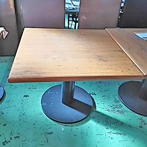【中古】テーブル(大)茶 幅900×奥行900×高さ700 【送料無料】【業務用】