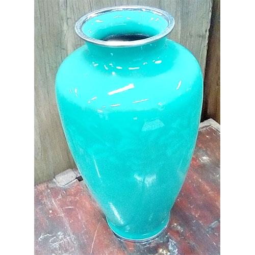 【中古】花瓶 七宝焼翡翠 幅130×奥行130×高さ245 【送料無料】【業務用】