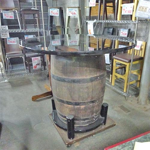 【中古】リメイク品樽テーブル 幅1200×奥行1200×高さ1040 【送料別途見積】【業務用】