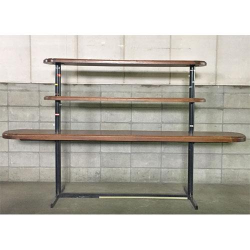 【中古】三段ウッドテーブル 幅2670×奥行610×高さ1560 【送料別途見積】【業務用】