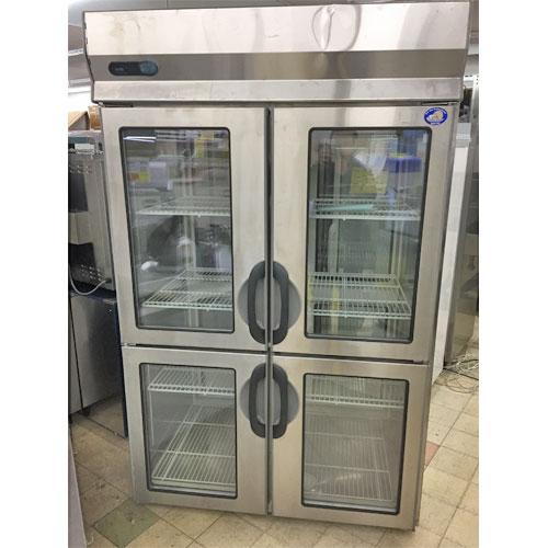 【中古】縦型冷蔵庫 ガラス戸 両面 サンヨー SRR-FP1281AD 幅1200×奥行900×高さ2000 【送料無料】【業務用】【厨房機器】