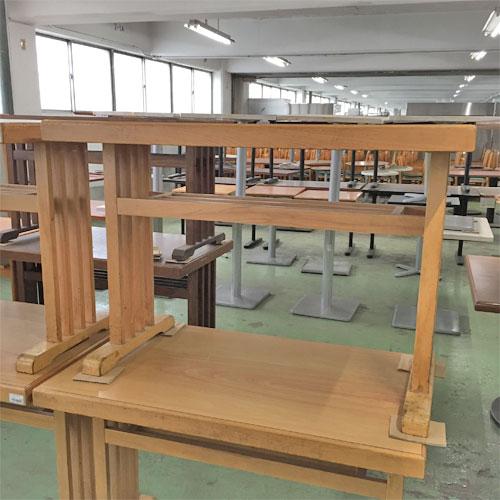 【中古】テーブル 木脚 茶 幅1000×奥行605×高さ700 【送料無料】【業務用】
