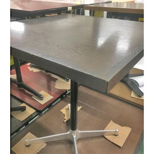 【中古】木ブチ洋テーブル茶 幅650×奥行650×高さ710 【送料無料】【業務用】