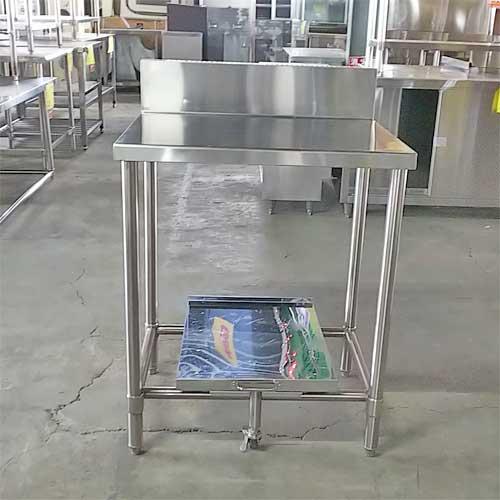 【中古】作業台(炊飯カート付き) 幅700×奥行600×高さ850 【送料別途見積】【業務用】