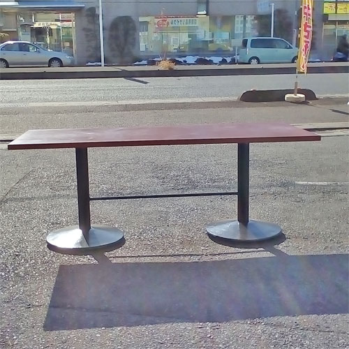 【中古】角テーブル ブラウン木目 幅1800×奥行750×高さ700 【送料別途見積】【業務用】