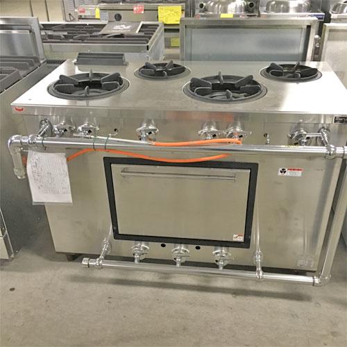 【中古】4口外管ガスオーブンレンジ マルゼン MGRD-126 幅1200×奥行600×高さ800 都市ガス 【送料無料】【業務用】【厨房機器】