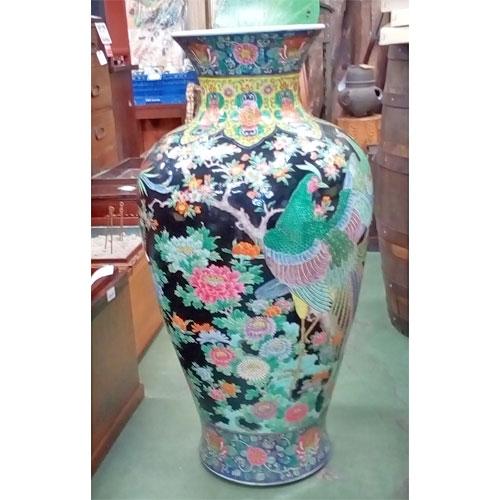【中古】中華風装飾壺 幅560×奥行560×高さ930 【送料別途見積】【業務用】