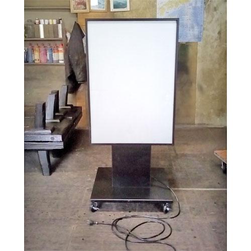 【中古】電飾看板 黒 幅600×奥行600×高さ1360 【送料別途見積】【業務用】