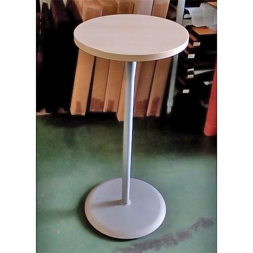 【中古】丸ハイテーブル 白 幅450×奥行450×高さ1000 【送料別途見積】【業務用】