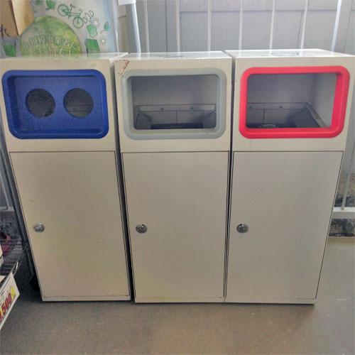 【中古】ゴミ箱3セット 分別タイプ 幅1050×奥行405×高さ950 【送料別途見積】【業務用】