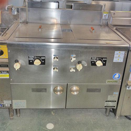 【中古】二槽式ゆで麺機 スーパーケトル ガス式 北沢産業 KSK-212G 幅900×奥行650×高さ800 LPG(プロパンガス) 【送料別途見積】【業務用】